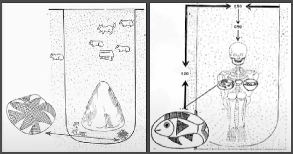"""Камни, найденные в 1966 году археологами Сантьяго Агурто (слева) и Алехандро Пецция (справа). Кадры из презентации Д. Беляева """"Криптоисторические мифы о доколумбовой Америке""""."""