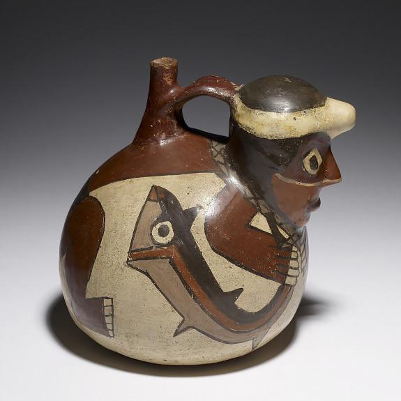 Сосуд с изображением рыбака. Наска, 200 г. до н.э. - 600 г. н.э. Коллекция The Walters Art Museum, Baltimore.