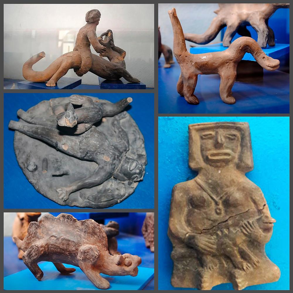 Фигурки динозавров и людей из Музея Вальдемара Юльсруда, Акамбаро, Мексика.