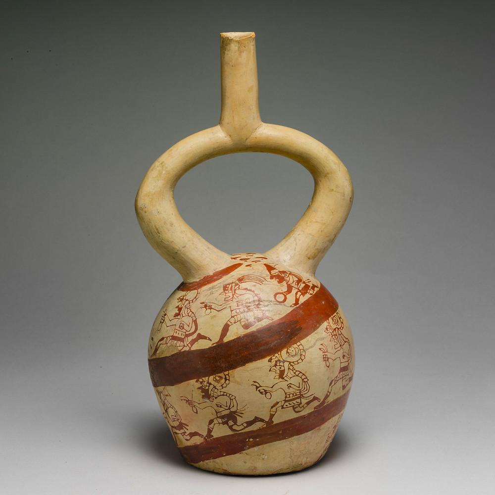 Сосуд с бегунами. Моче, Перу, IV-VII вв. н.э. Коллекция The Metropolitan Museum of Art.