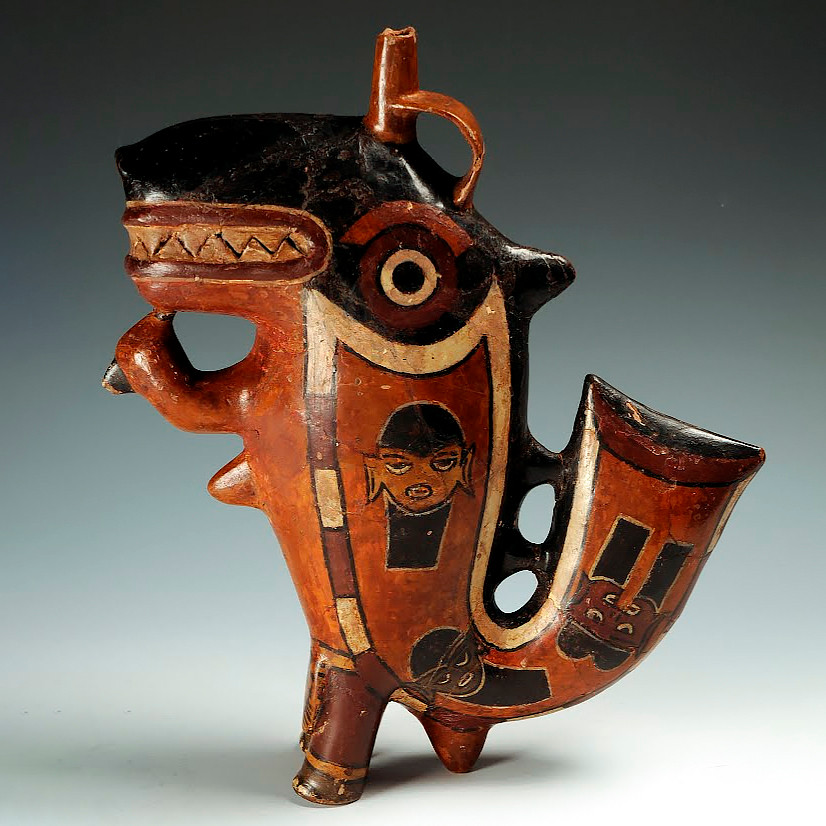 Сосуд в форме мифического существа Касатки-Убийцы. Наска, 1-800 гг. н.э. Коллекция Museo Larco.