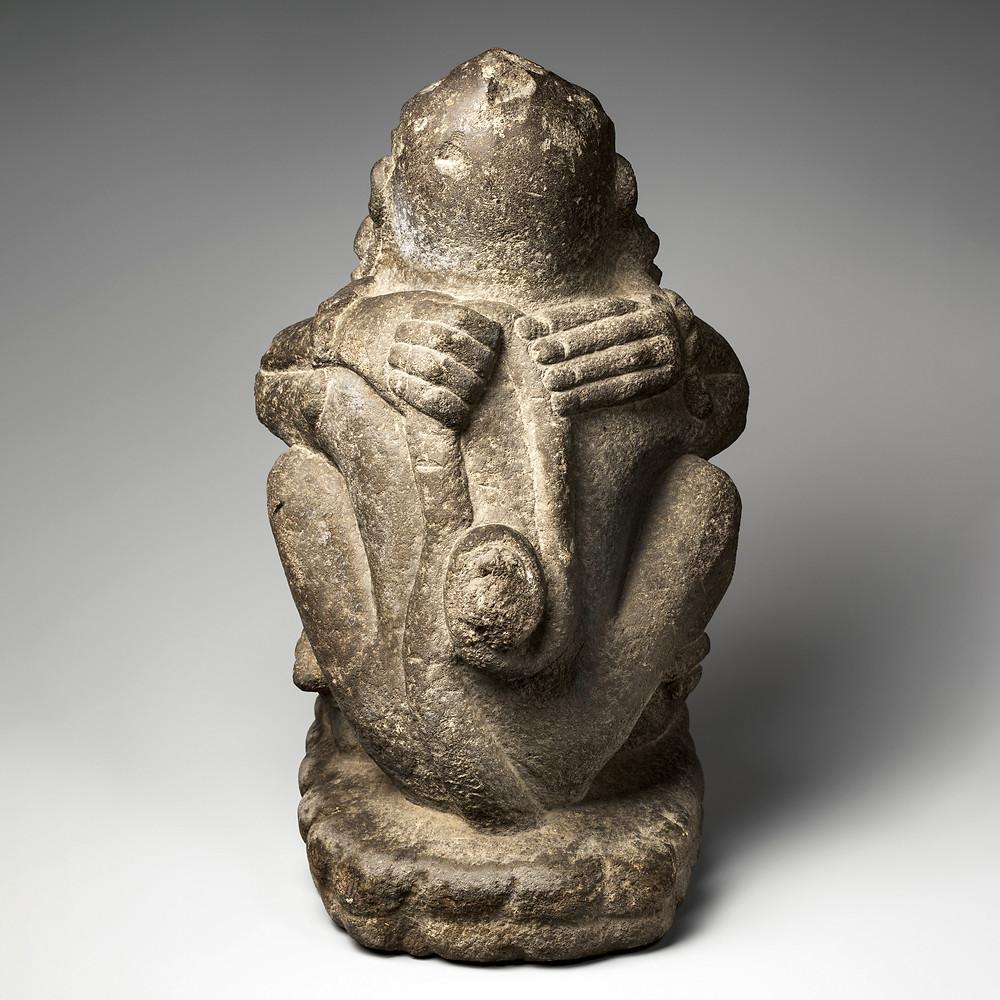 Бог ветра в виде обезьяны с вытянутыми губами. Ацтеки, XIII-XVI вв. н.э. Коллекция The Metropolitan Museum of Art.