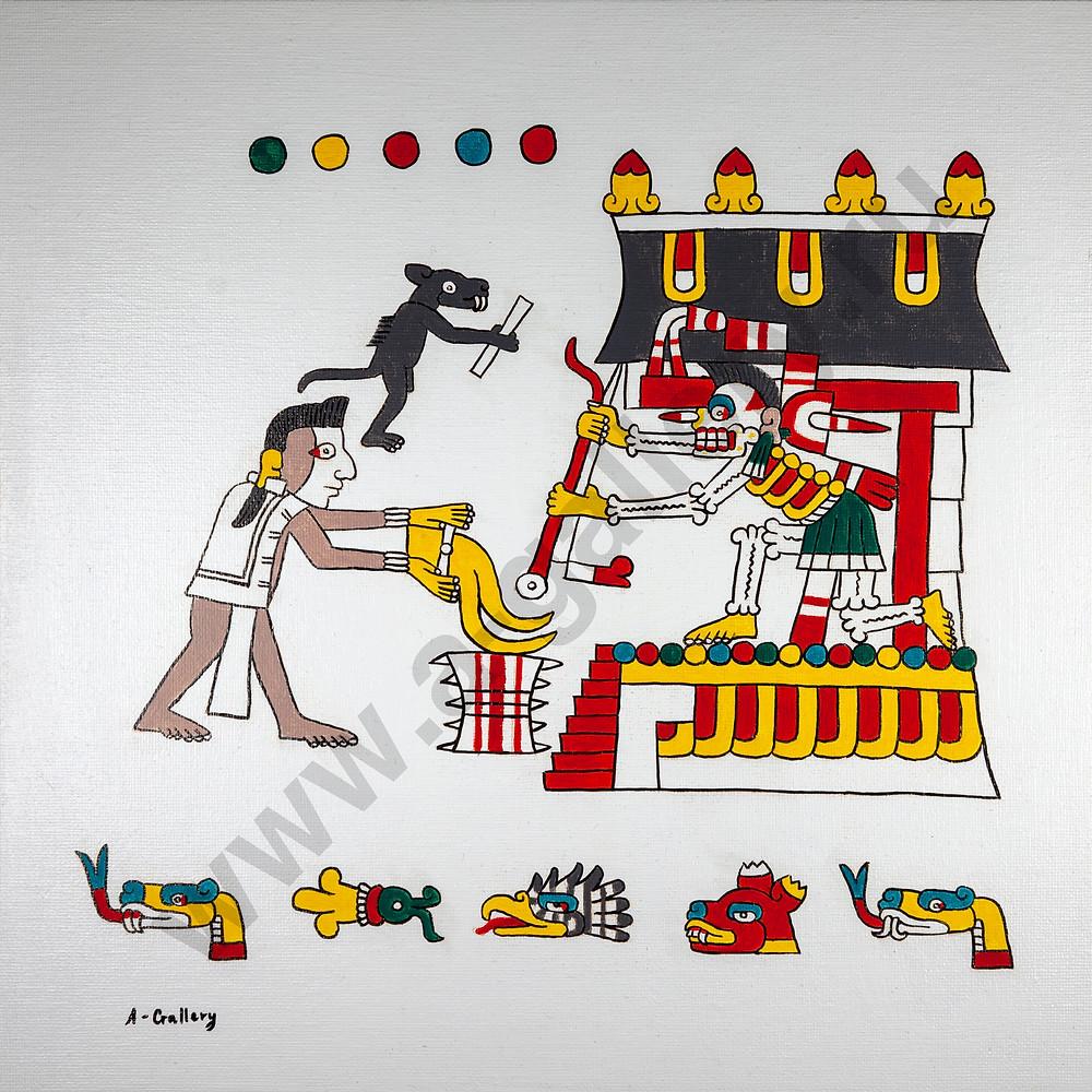 Умерший и сопровождающая его собака подносят свитки бумаги владыке Миктлана. Прорисовка фрагмента кодекса Лод.