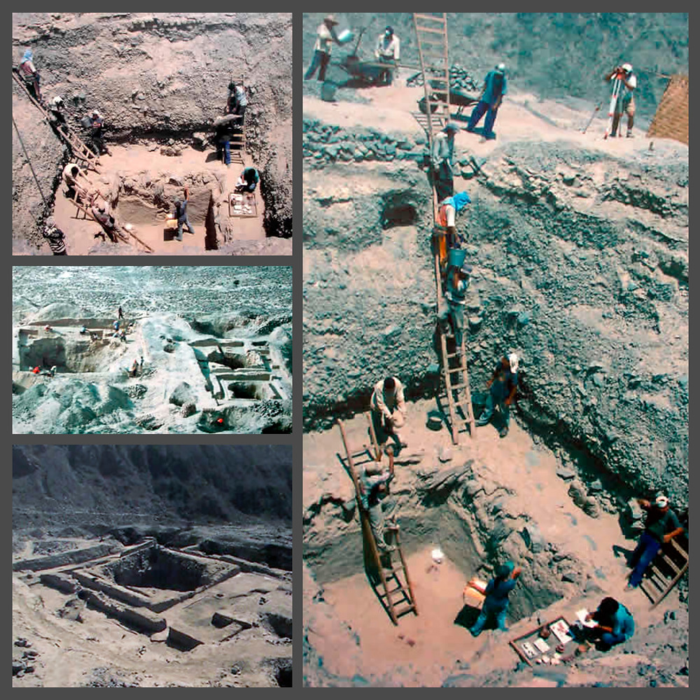 Раскопки погребений Наска в La Muña (Перу).
