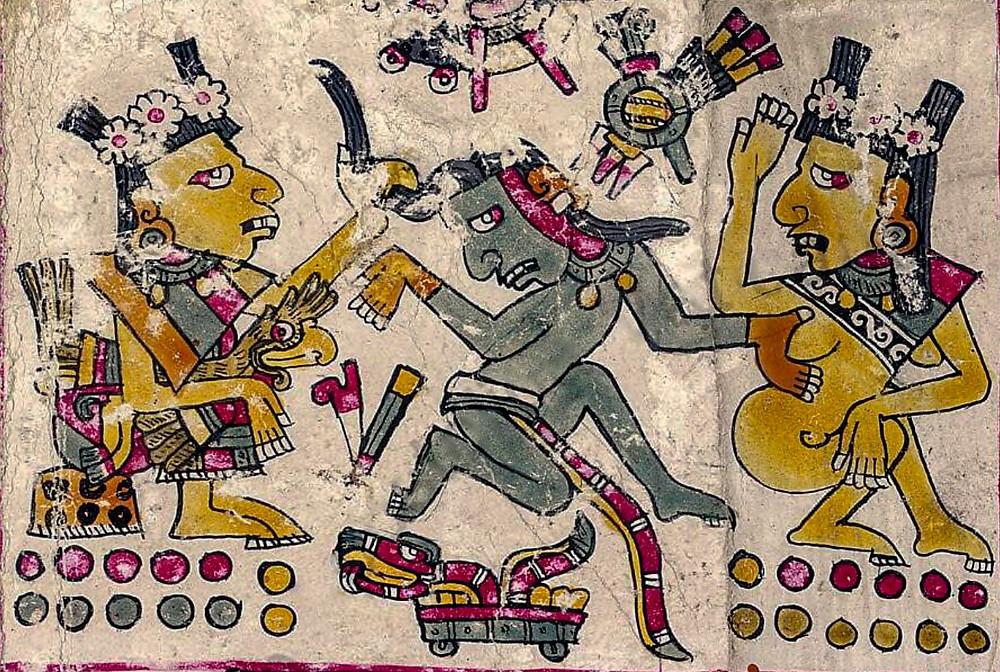 Шочикецаль и жрица (?) соблазняют воина. Фрагмент кодекса Борджиа. Коллекция Bibliotheca Apostolica Vaticana.