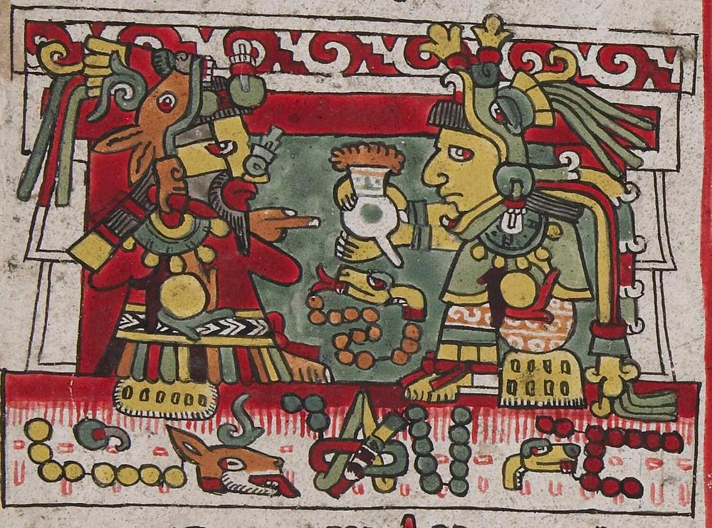 Невеста подносит жениху напиток какао со взбитой пеной во время свадебной церемонии. Миштекский кодекс Nuttall, 1200-1521 гг. н.э. Коллекция The British Museum.
