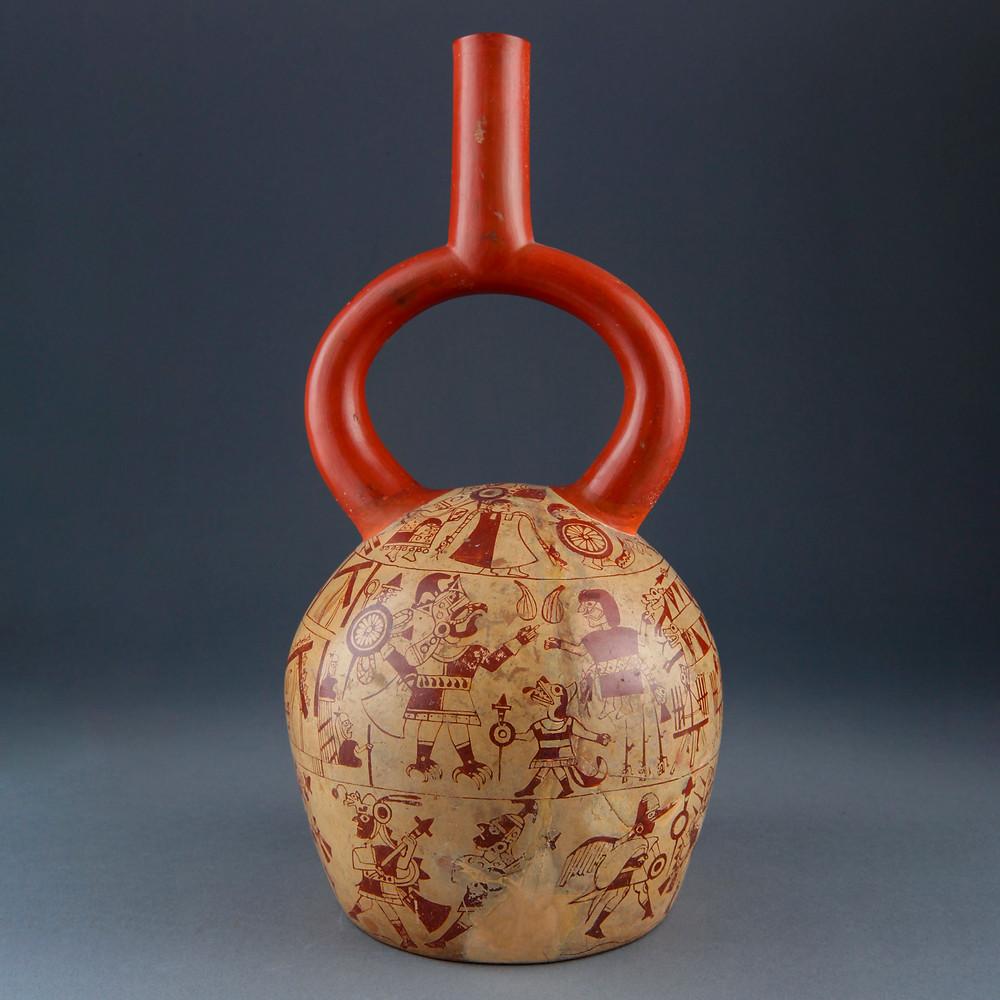 Стремевидный сосуд с изображением восстания вещей. Моче, 1-800 гг. н.э. Коллекция Museo Larco, Lima.