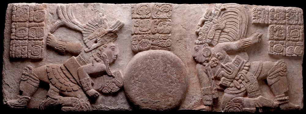 Сцена игры в мяч, Майя, Тонина, Чьяпас. Монумент 171. Коллекция Museo Nacional Mexico City.