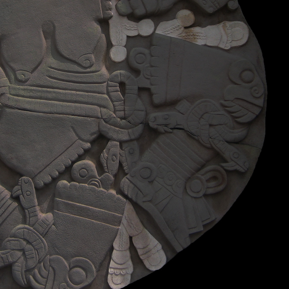 Редактировать галерею  Камень Койольшауки. Ацтеки, примерно 1473 г. н.э. Коллекция Museo del Templo Mayor, Mexico. Tatiana Shulikova, 2007.