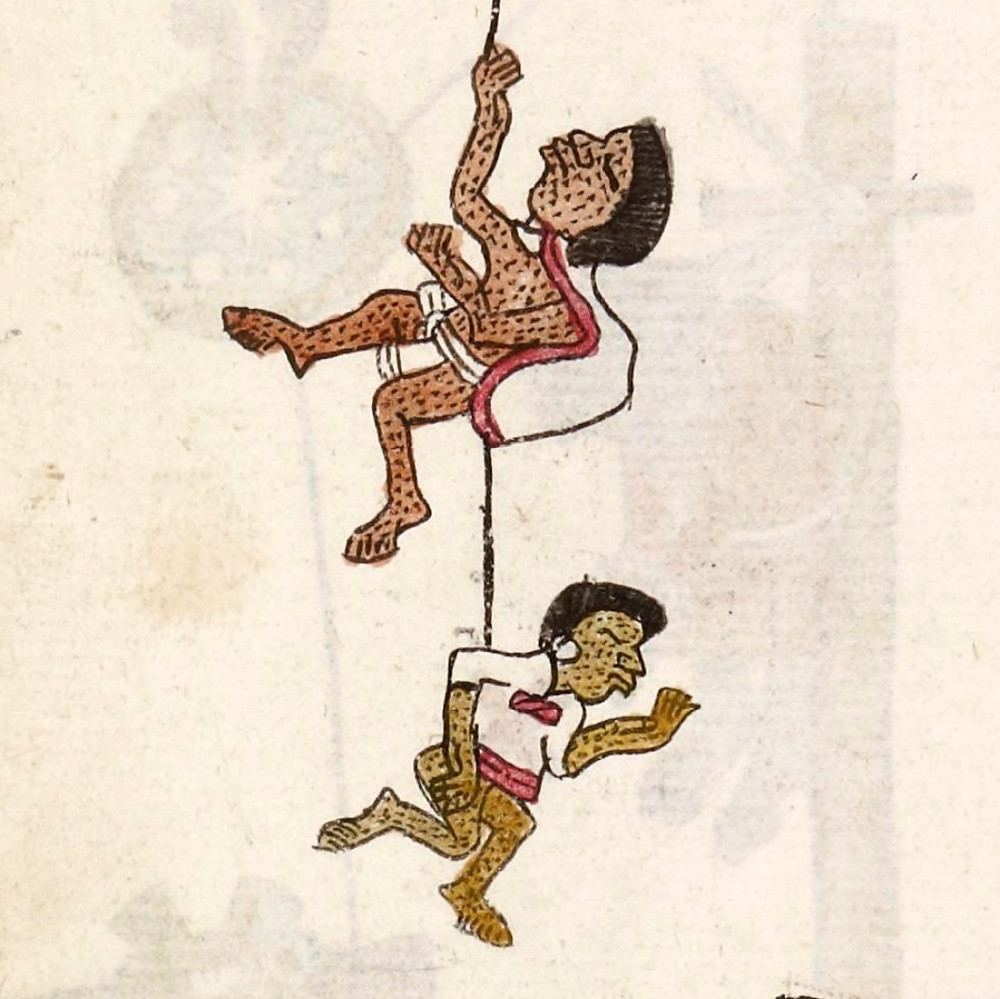 Жертвы эпидемии. Фрагмент. Кодекс Теллериано-Ременсис. Коллекция Bibliothèque nationale de France, Paris.