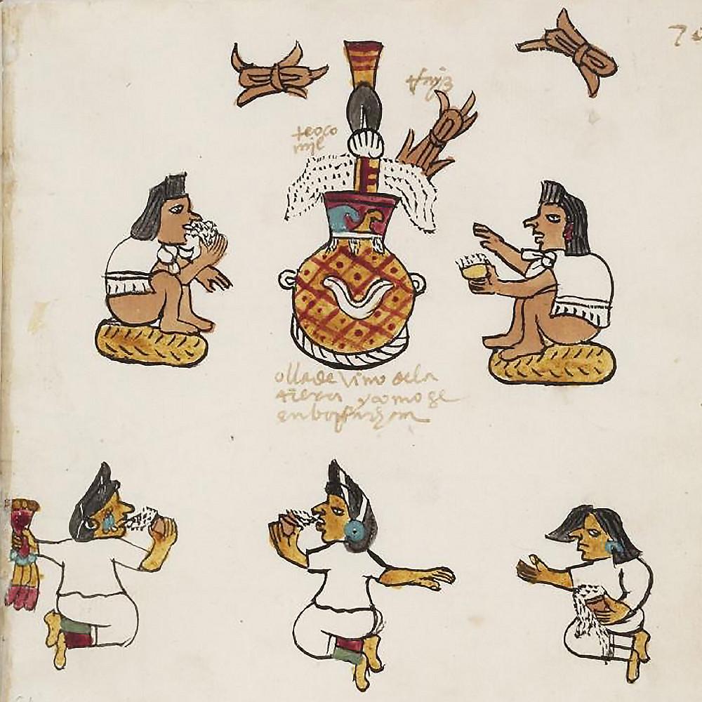 Индейцы пьют пульке. Фрагмент Кодекса Тудела. Коллекция Museo de América, Madrid.