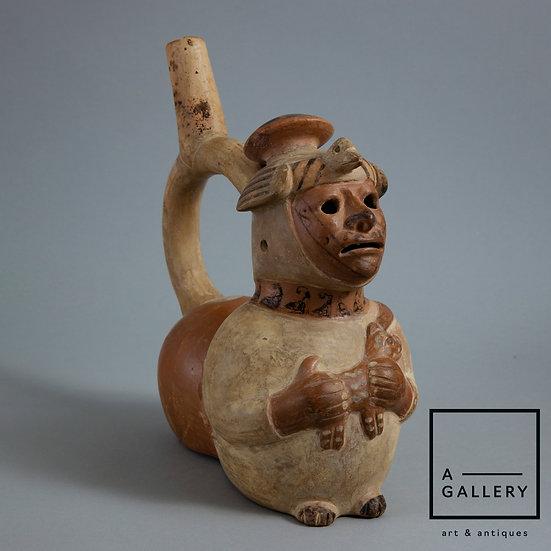 Cосуд в виде фигуры слепого с собакой, культура Моче (500-750 гг. н.э.)