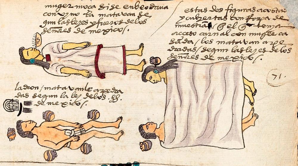 Преступники и способы их казни. Фрагмент кодекса Мендоса. Коллекция Bodleian Library, Oxford.