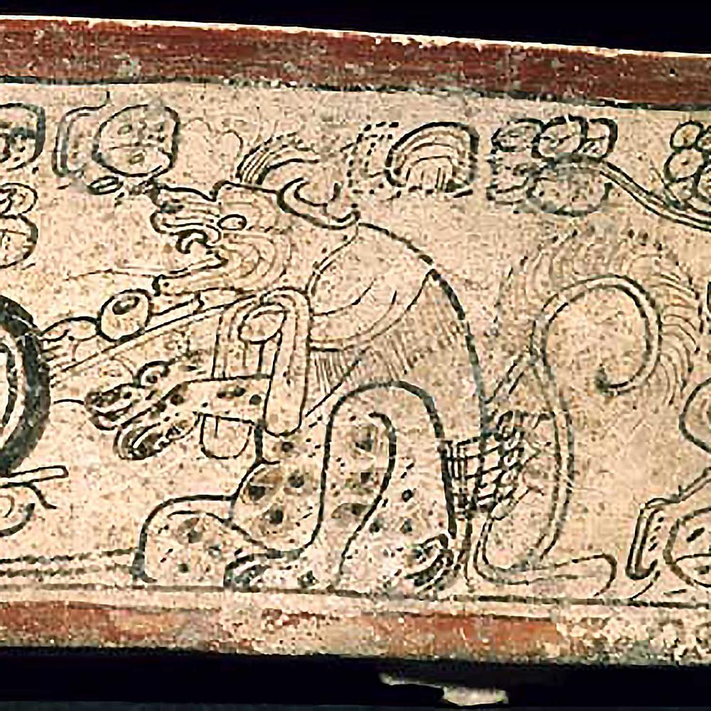Фрагмент развертки сосуда с изображением собаки. Иллюстрация The Maya Vase Book Volume 4. pps. 686-715. Kerr Associates, NY. Источник: research.mayavase.com