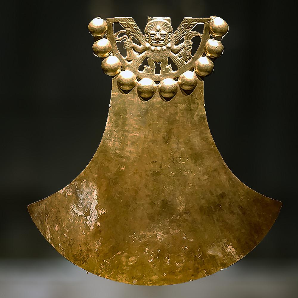 Украшение с погремушками. Моче, 625-645 гг. н.э. Коллекция Museo de la Nación, Lima.