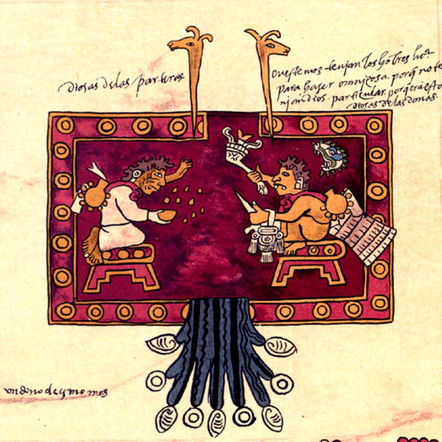 Два бога-старца бросают зерна кукурузы или семена дерева ците. Фрагмент копии Бурбонского кодекса. Ацтеки. Оригинал находится в коллекции Bibliothèque de l'Assemblée Nationale, Париж.