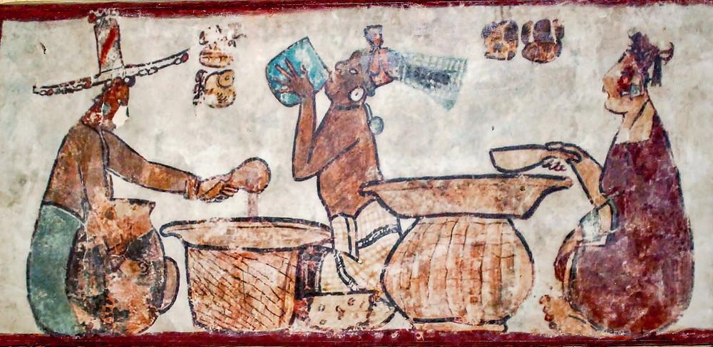 Покупатель пробует какао. Фрагмент фрески. Bernard Dupont, 2020. Calakmul Archeological Zone, Campeche, Mexico.