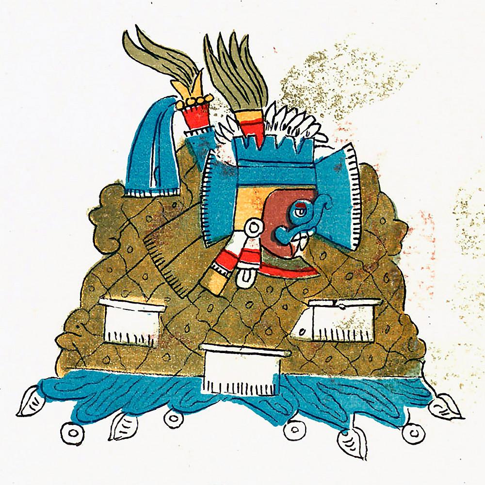 Бог Тлалок. Фрагмент кодекса Ватиканус А. Коллекция Bibliotheca Apostolica Vaticana.