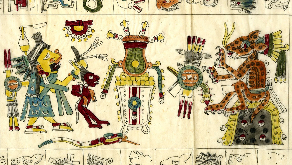 Тепейоллотль и Тласолтеотль. Фрагмент кодекса Борджиа. Факсимиле из коллекции the British Museum.