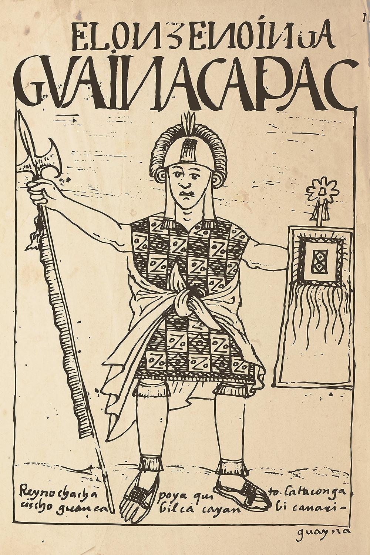 Уайна Капак готовый к битве. Guaman Poma de Ayala, 1615. Коллекция Royal Library of Copenhagen.