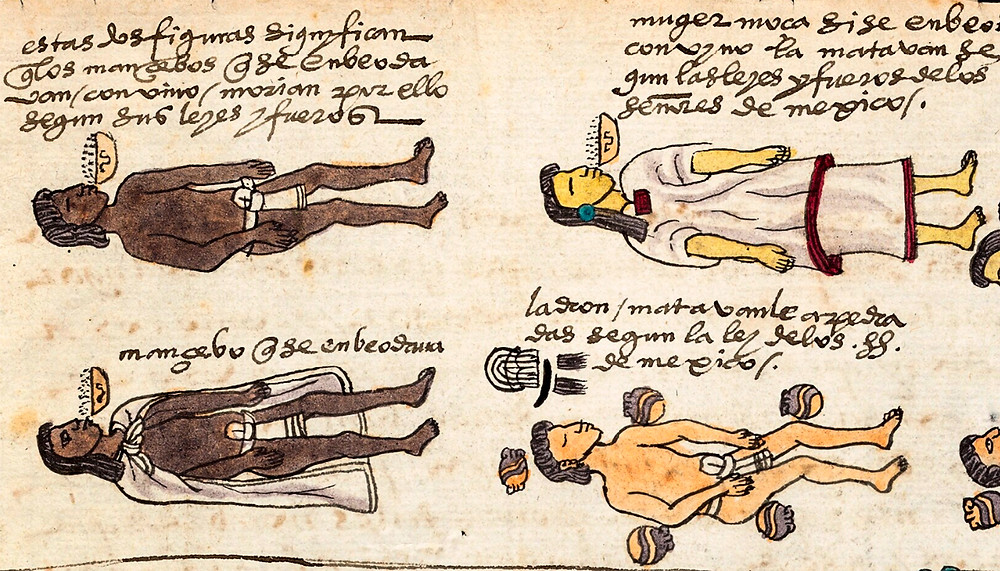 Три пьяницы и вор. Фрагмент кодекса Мендоса. Коллекция Bodleian Library, Oxford.