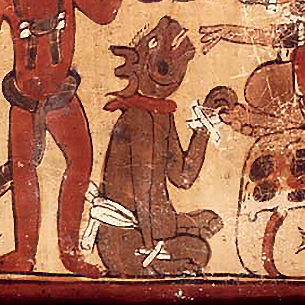 Фрагмент развертки сосуда с изображением собаки. Иллюстрация Coe 78 The Lords of the Underworld. Источник: research.mayavase.com