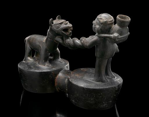 Сосуд с изображением мужчины и ламы, Инки (?), примерно 1500 гг. н.э. Коллекция Национального музея американских индейцев под эгидой Смитсоновского института.