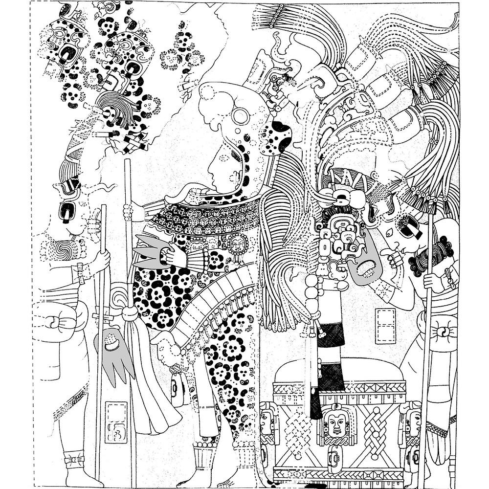 Прорисовка рельефа из Храма жреца-ягуара. Тикаль. Автор William Coe.