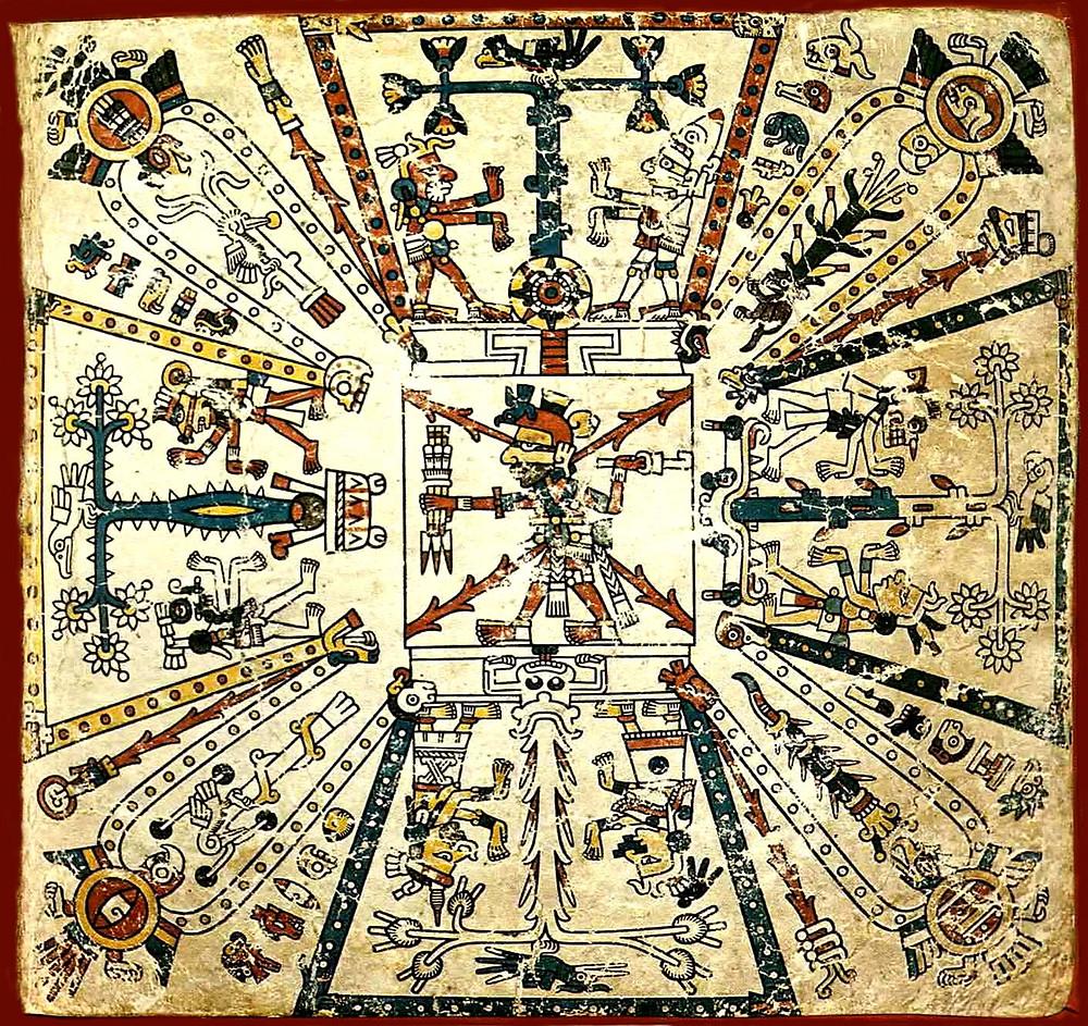 Мировое древо. Фрагмент кодекса Фейервари-Майера. Ацтеки. Коллекция World Museum, Ливерпуль.