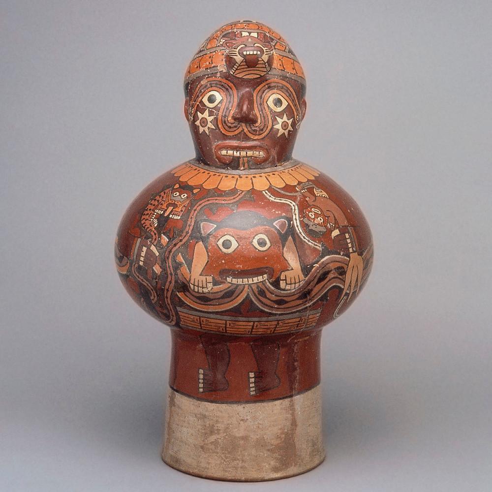 Керамический барабан. Культура Наска, Перу, 1-800 гг. н.э. Коллекция Museo Larco, Lima.