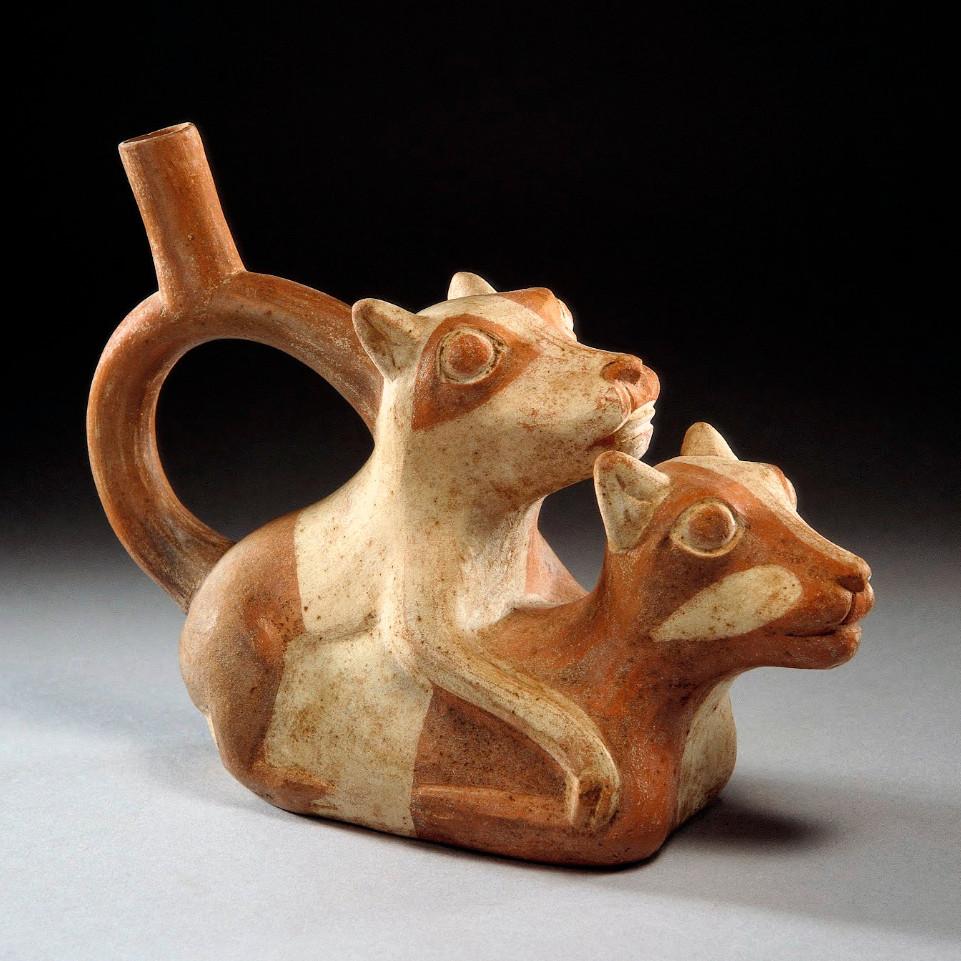 Фигурный сосуд, изображающий совокупляющихся лам. Моче, 0-800 гг. н.э. Коллекция Museo Larco, Лима.