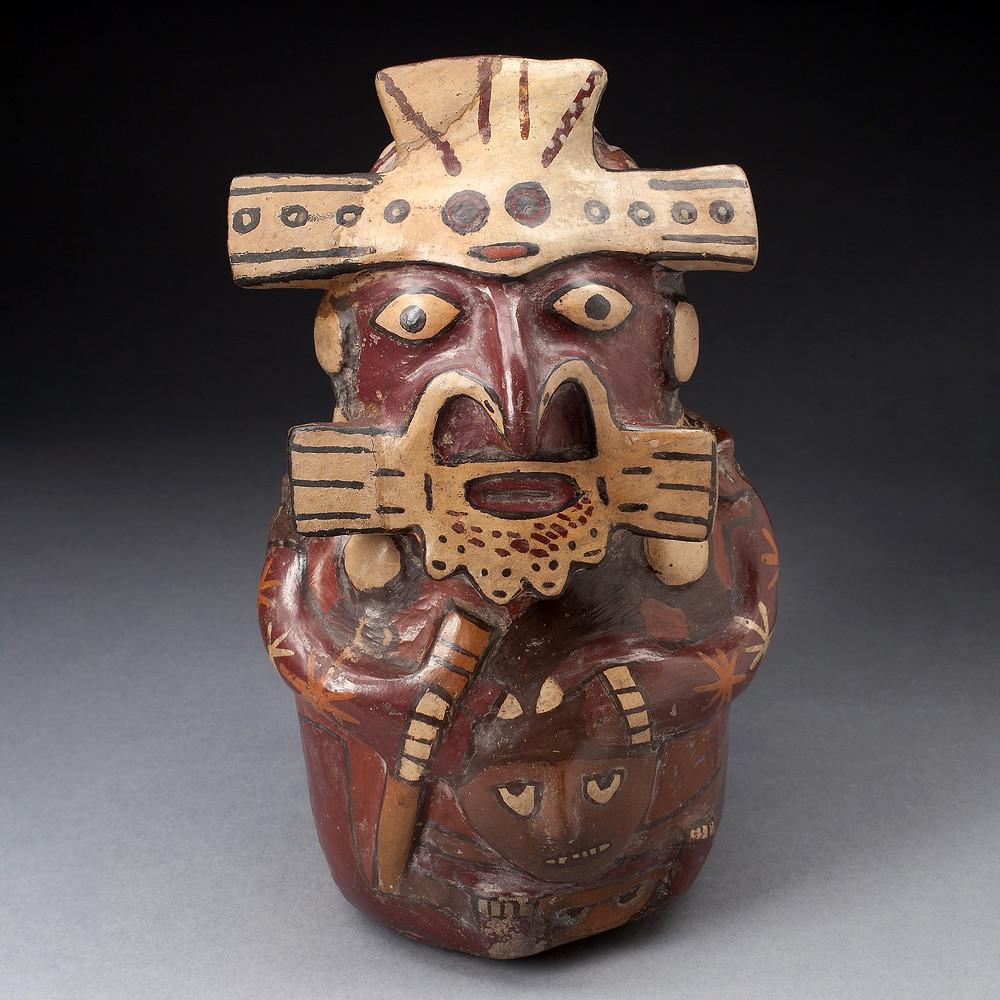 Сосуд в виде человека в маске. Наска, 180 г. до н.э. - 500 г. н.э. Коллекция Art Institute of Chicago.