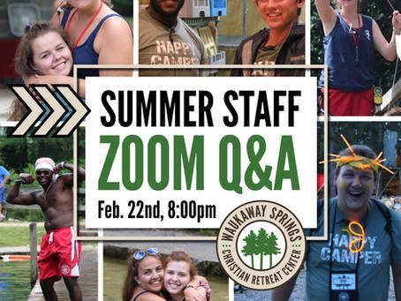 Summer Staff Zoom Q&A