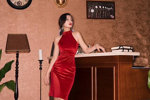 Velvet Bodycon Dress With Sheer Detail - RED