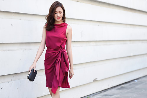 Cowl neck wrap dress - Red