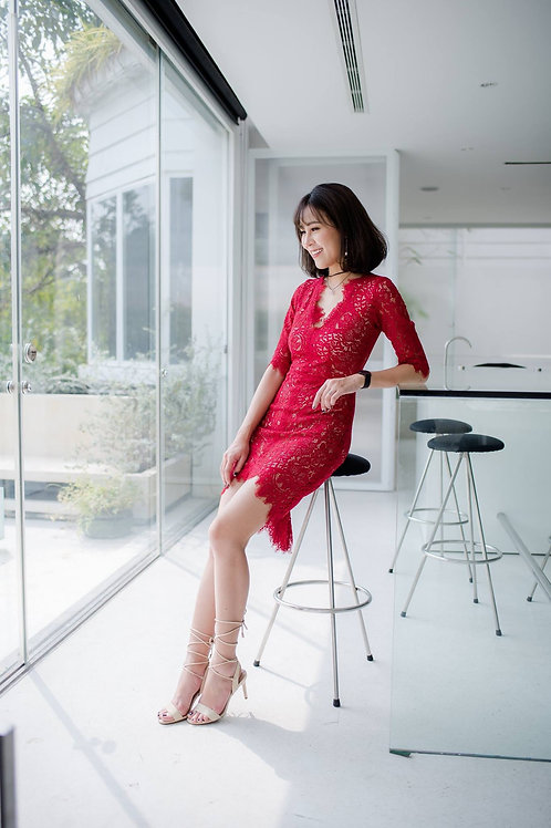High Low Lace Dress With Sleeve - Red