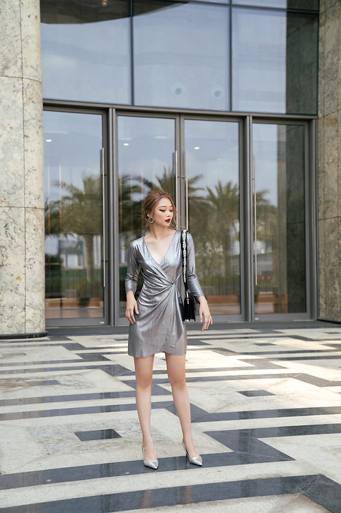 Metallic V neck Mini Dress
