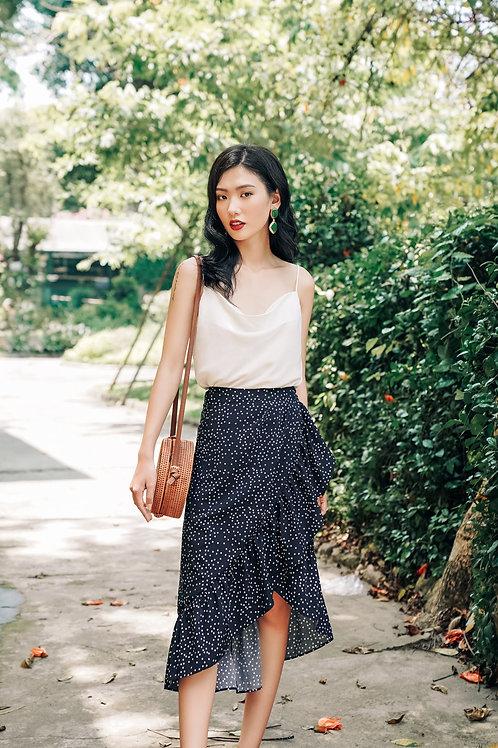 Polka Dot Wrapped Skirt