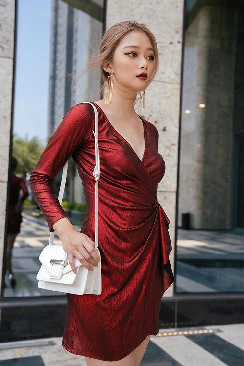 Metallic V neck Mini Dress