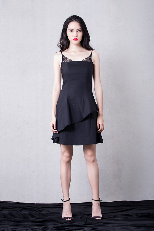 Lace inserted skater dress