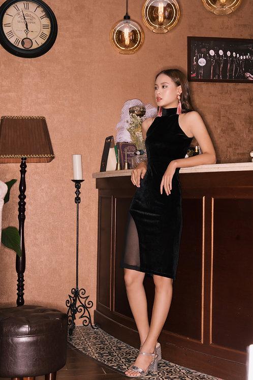 Velvet Bodycon Dress With Sheer Detail - Black