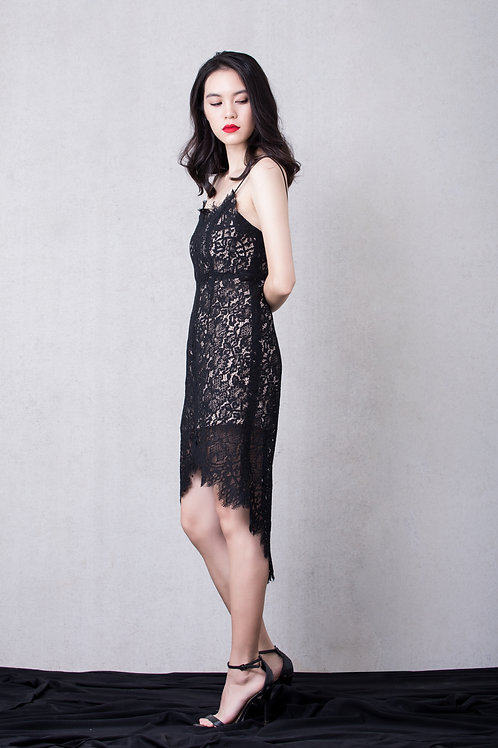 Hi-Low Lace Dress - Black