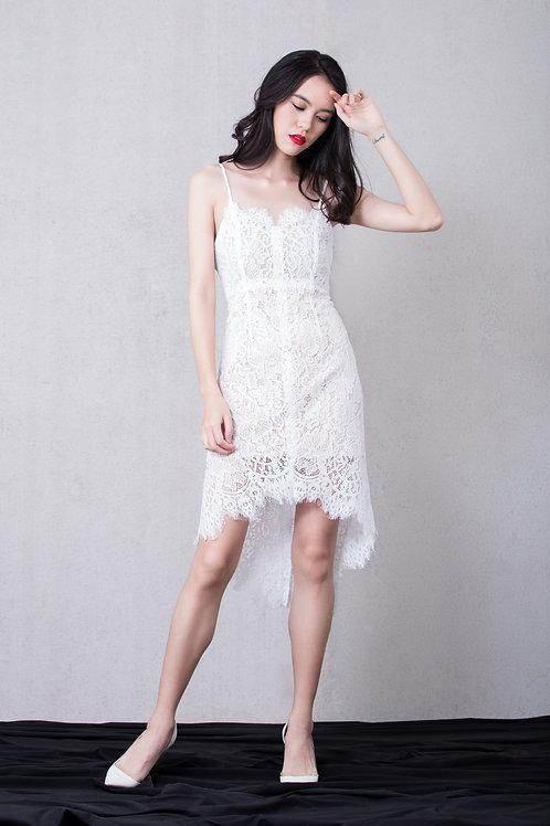 Hi-Low Lace Dress - White