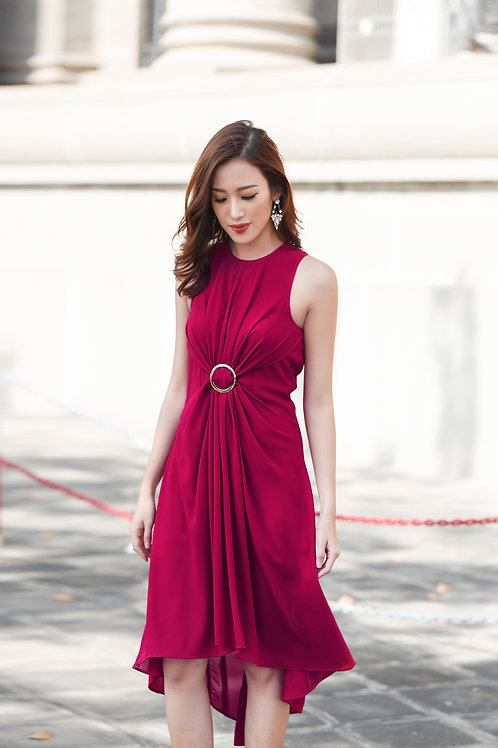 High low dress with ring - Red