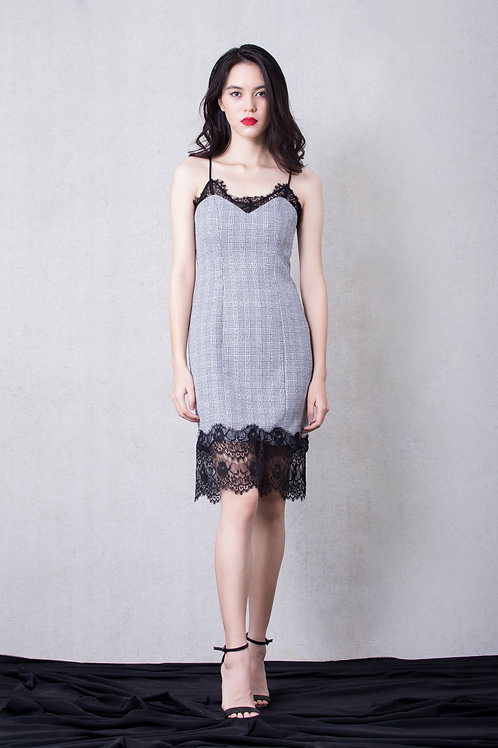 Lace inserted bodycon - grey
