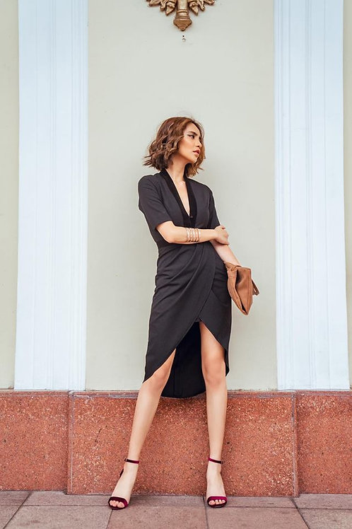 Deep V Neck Draped Dress - Black