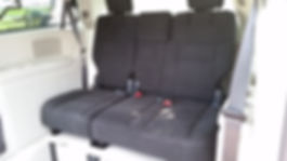 Bench seat with 3 seatbelts in side entry handicap accessible van