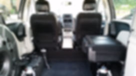 View from inside 2012 Rear Entry Dodge Grand Caravan wheelchair accessible van with 3 seats