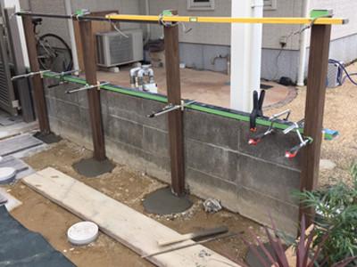 フェンスの柱取付
