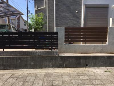 既存フェンスと新設フェンス